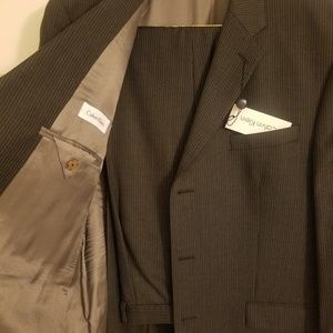 Grey Calvin Klein pinstripe suit, regular fit